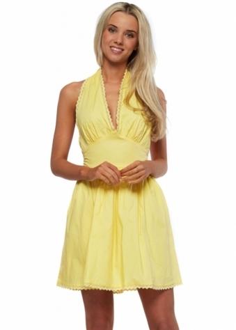 Goddess London Yellow Pinafore Mini Dress With Long Bow Ties