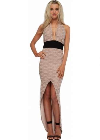 Honor Gold Beige Lace Hi Low Maxi Dress With Cummerbund Waist