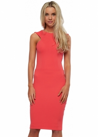 Honor Gold Nikki Sleeveless Pencil Dress In Coral Pink