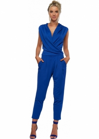Honor Gold Jay Sleeveless Blue Jumpsuit With Side Pockets