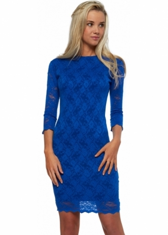 Honor Gold Blue Lace Bodycon Backless Mini Dress
