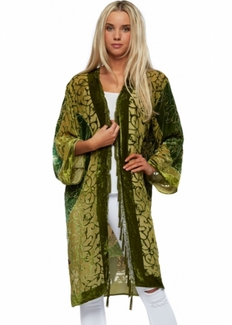 JayLey Green Silk Devore Embellished Oriental Lady Kaftan Jacket