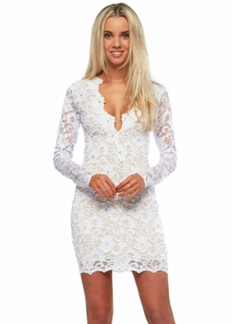 Holt Hand Painted White Lace Eli Party Dress