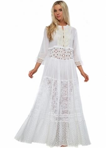 Antica Sartoria White Cotton & Lace Beaded Neckline Boho Maxi Dress