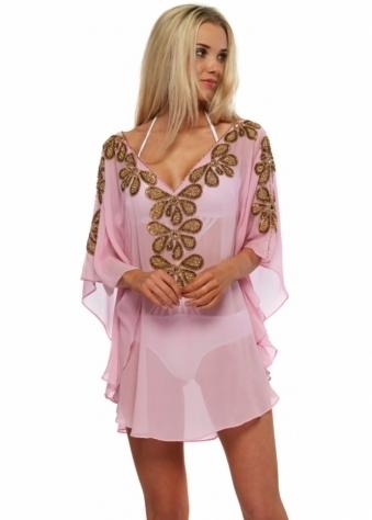 Rumba Baby Pink Gold Beaded Silk Kaftan