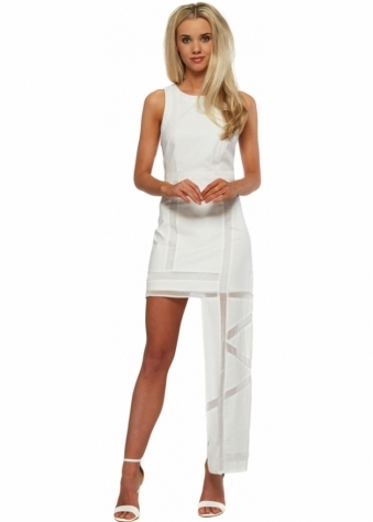 White Linen Mesh Insert Hi Lo Maxi Dress