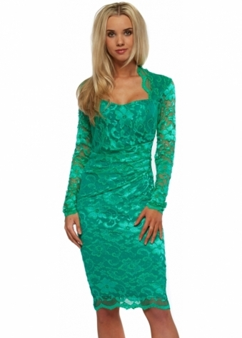 Goddess London Long Sleeved Emerald Green Lace Pencil Dress