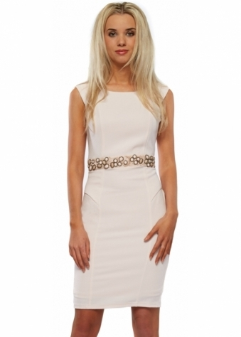 Cameron Dress In Pink Crepe With Beaded Waistband