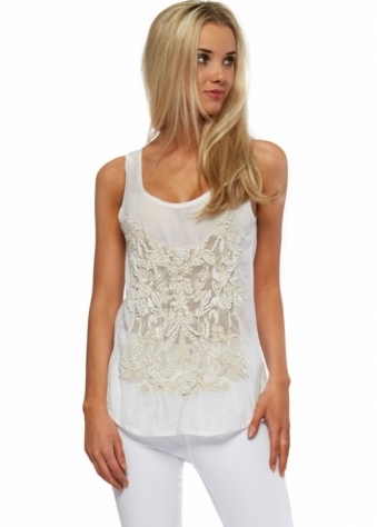 Antica Sartoria Fine White Beaded Cotton Zip Back Top