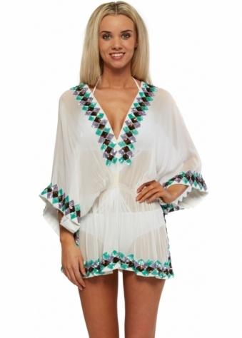 Lindsey Brown White Silk Manhattan Kaftan With Sparkling Sequins