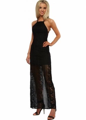 Ginger Fizz Strappy Back Embrace It Maxi Dress In Black Crochet