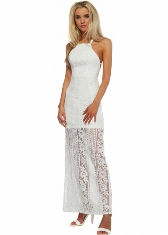 Strappy Back Embrace It Maxi Dress In Cream Crochet