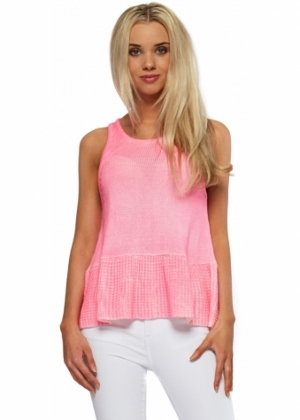 Finders Keepers Hot Neon Pink Knitted Peplum Top