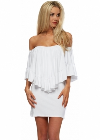 Pink Flame Off The Shoulder White Frill Cape Mini Dress