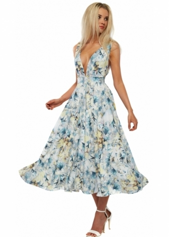 Rebecca Rhoades Floral Print Full Swing Jenny Prom Dress