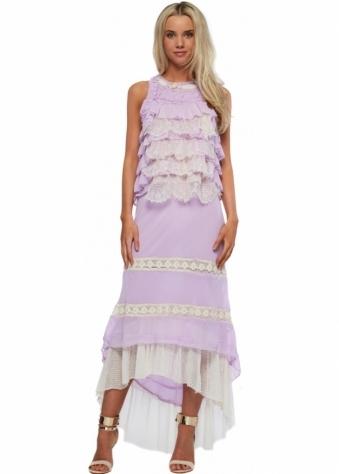Antica Sartoria Lilac Lace & Frills Maxi Skirt & Top
