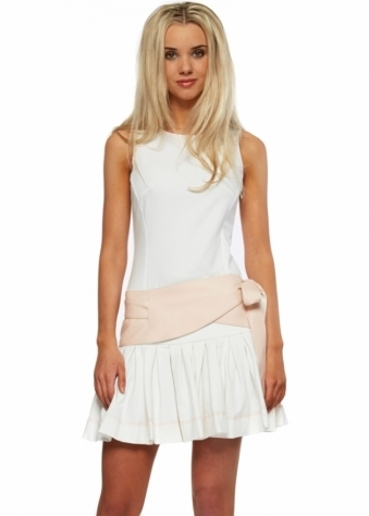 Flared Hem Mini Dress With PU Bow Tie