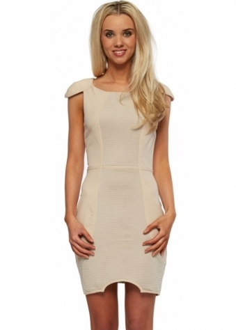 Beige Panelled Body Con Mini Dress With Cut Out Hemline
