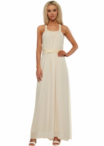 Nude Chiffon Mesh Strap Back Maxi Dress