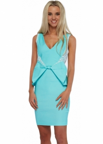 Rayna Spearmint Lace Peplum Bow Pencil Dress