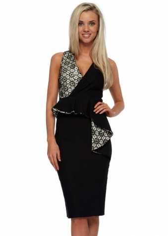 Monochrome Sequinned Lace Peplum Midi Dominque Dress