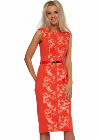 Little Mistress Orange Floral Panel Midi Pencil Dress