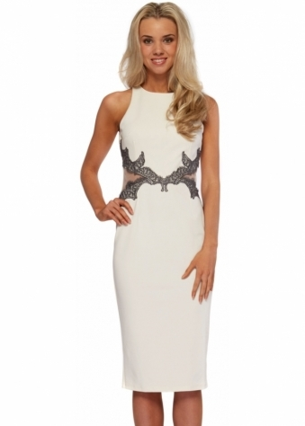 Little Mistress Cream Metallic Pewter Lace Mesh Insert Pencil Dress