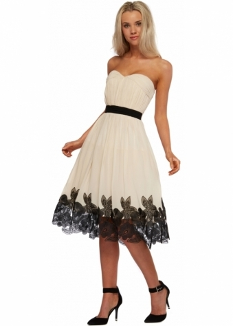 Little Mistress Cream Bandeau Prom Dress With Contrasting Lace Hemline