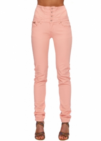 Peach High Waisted Skinny Stretch Fit Jeans