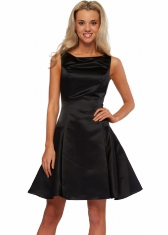Black Satin Sleeveless Swing Skirt Victoria Dress