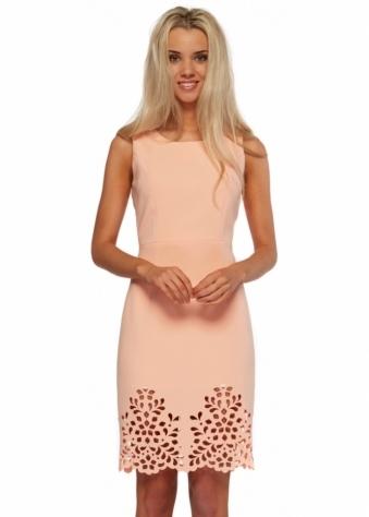 Peach Eva Dress With Laser Cut Hemline