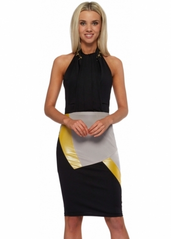 Colour Block Black Jersey Halter Neck Midi Dress
