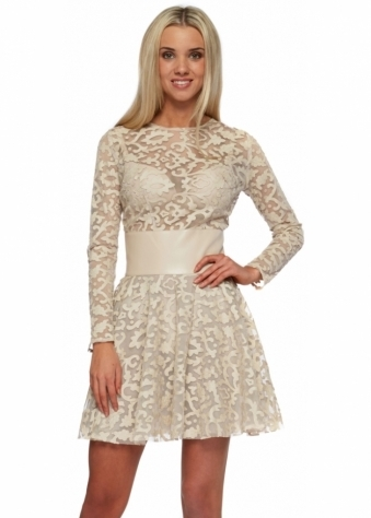 Just Unique Beige Damask PU Mesh Skater Naomi Dress
