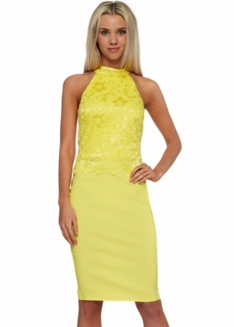 Goddess London Yellow Halterneck Lace Overlay Midi Dress