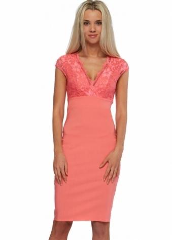 Goddess London Cap Sleeve Coral Lace Bengaline Pencil Dress