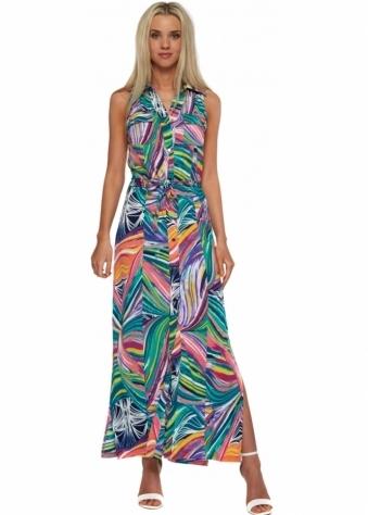 Designer Desirables Multi Coloured Collared Shirt Maxi Dress