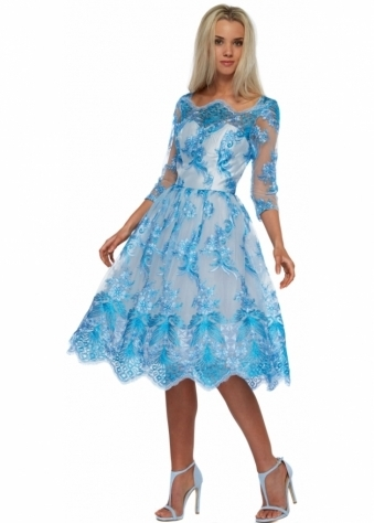 Liana Baroque Blue Embroidered Tea Dress