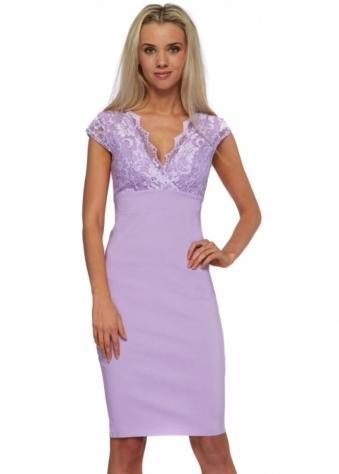 Goddess London Cap Sleeve Lilac Lace Bengaline Pencil Dress