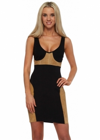 Suede Panel Body Con Mini Dress