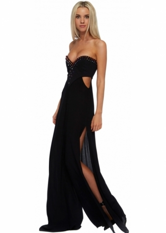 One Teaspoon Paradise City Black Maxi Strapless Jumpsuit