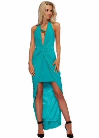 Forever Unique Evette Green Maxi Dress With Jewelled Necklace