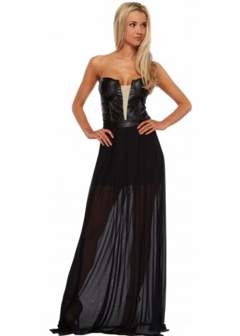 Forever Unique Selfish Delta Leatherette Bustier Black Maxi Dress