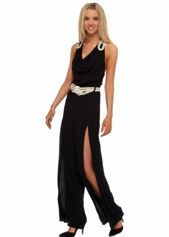 Miss Milne Black Orchid Jumpsuit With Pleated Rope & Split Leg