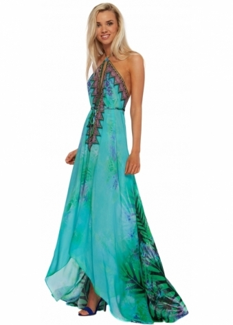 Parides Aqua Amazonia Palm Silk Crepe Maxi Dress
