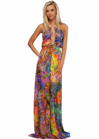 Holt One Night In Paris Multicoloured Print Gold Ties Maxi Dress