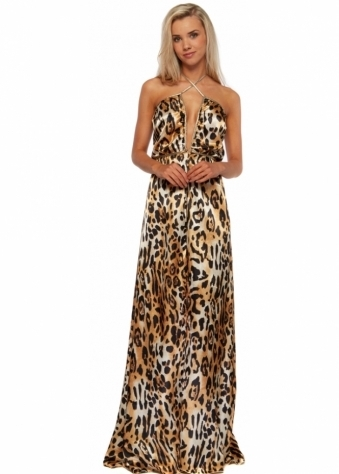 Leopard Print One Night In Paris Gold Ties Maxi Dress