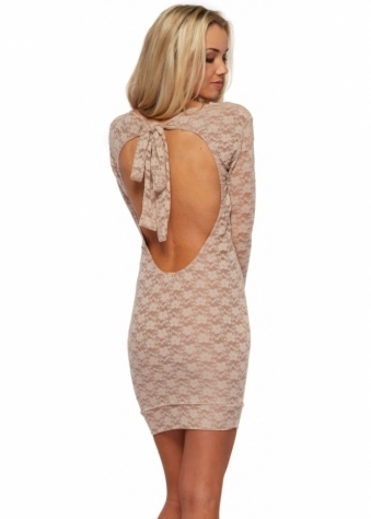 Paige Beige Lace Bodycon Mini Dress