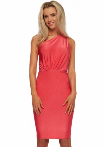 Amy Coral Halterneck Jersey Stretch Bodycon Dress