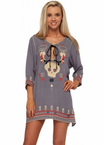 One Teaspoon Dress The Hidden Crosses Embroidered Skull Grey Ash Tunic