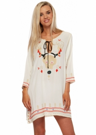 One Teaspoon Dress The Hidden Crosses Skull Embroidered Cream Tunic